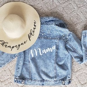 Mama denim jacket with pearl details